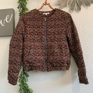 Under Skies multi colored quilted bomber